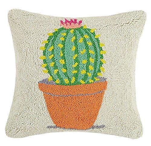 "Peking Handicraft Festival Potted Cactus Hook Pillow, 16 x 16"""