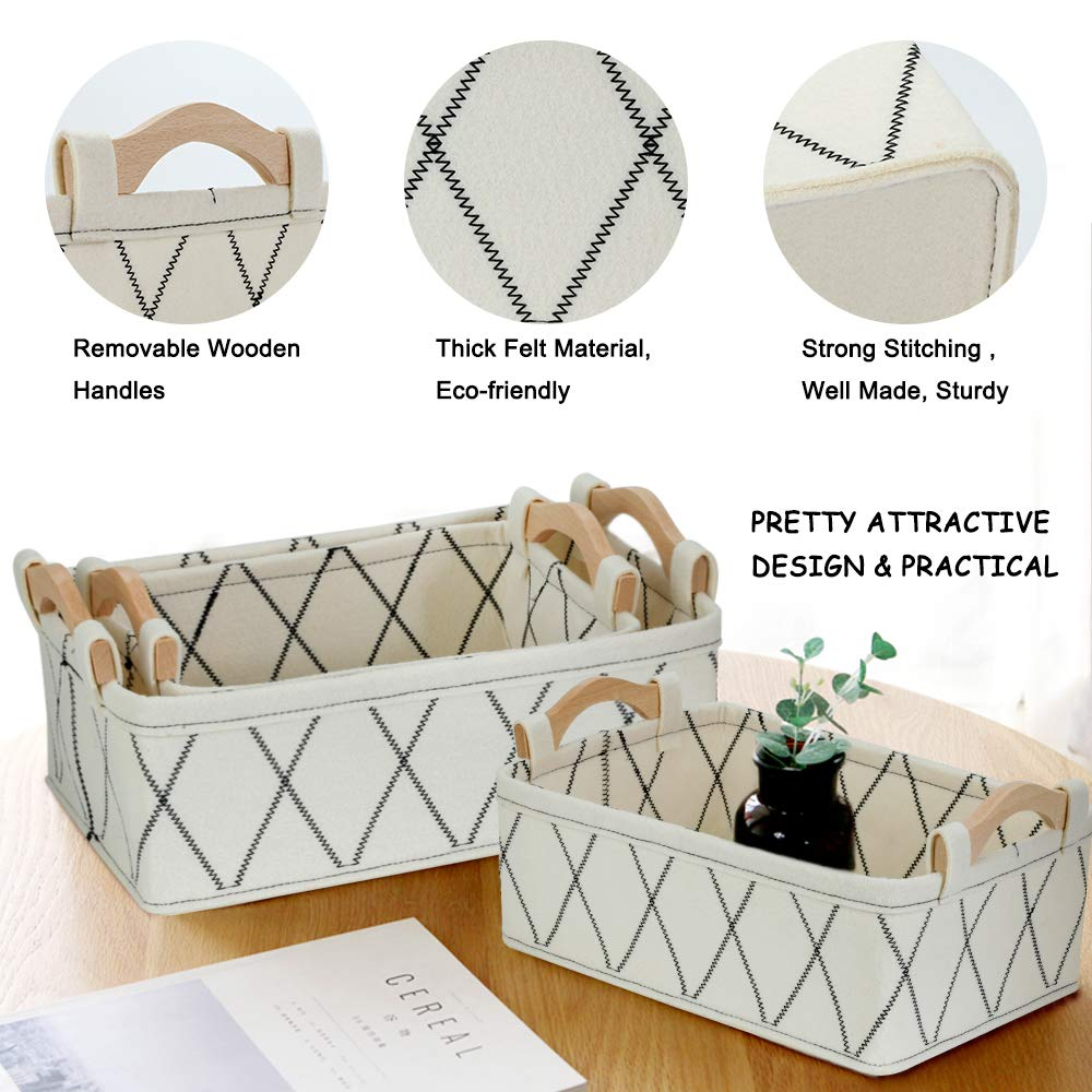 Small Basket Shallow Storage Baskets Felt Storage Basket Bin Long Narrow Basket for Towels Dog Cat Toys Office Supplies Dippers Baby Toys Storage Basket Light Gray