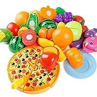 Juguete de corte de cocina de plástico de 24 piezas de plástico, juguete de desarrollo temprano y educación de YIFAN para bebés, niños y niños