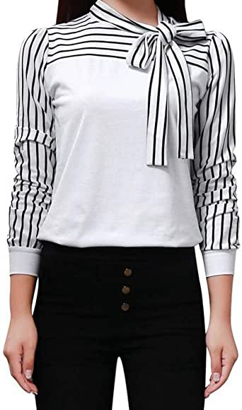 Mujer Blusa Elegante Moda Casual Modernas Hipster Informales Camisa Fiesta Primavera Otoño Tops Manga Larga Rayas Empalme Bandage Tie-Bow Slim Fit Shirts Camisas Tshirts: Amazon.es: Ropa y accesorios