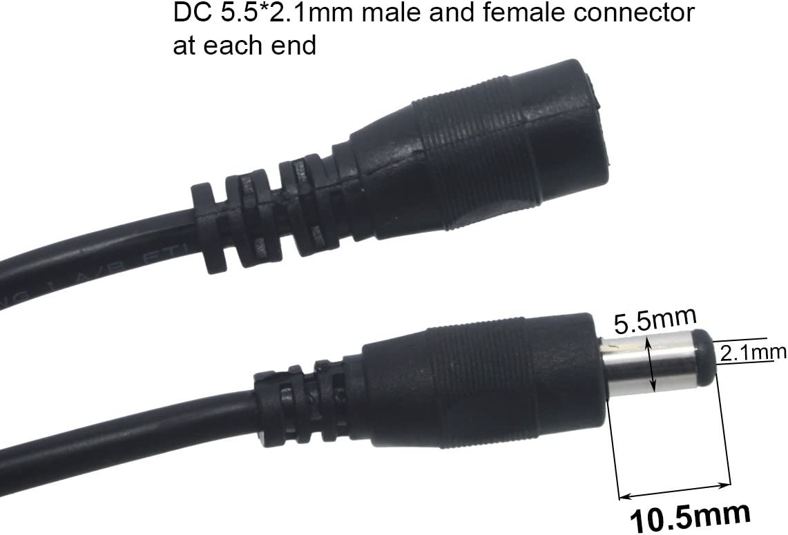 2.1MM x 5.5MM Power 5x Female+5x Male Plug Connector Cable for CCTV LED Lighting