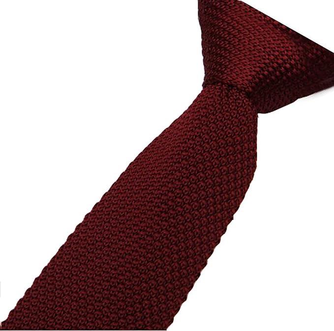 Corbata para Hombre sólido color Corbata de Punto 5cm (vino rojo ...