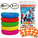 Mosquito Repellent Patch and Bracelets, Resealable 60Pack with 5 bracelets 100% Natural SAFE DEET FREE 300 Hours Protection Waterproof Outdoors Work Easy-Use, Perfect for Kids & Adults