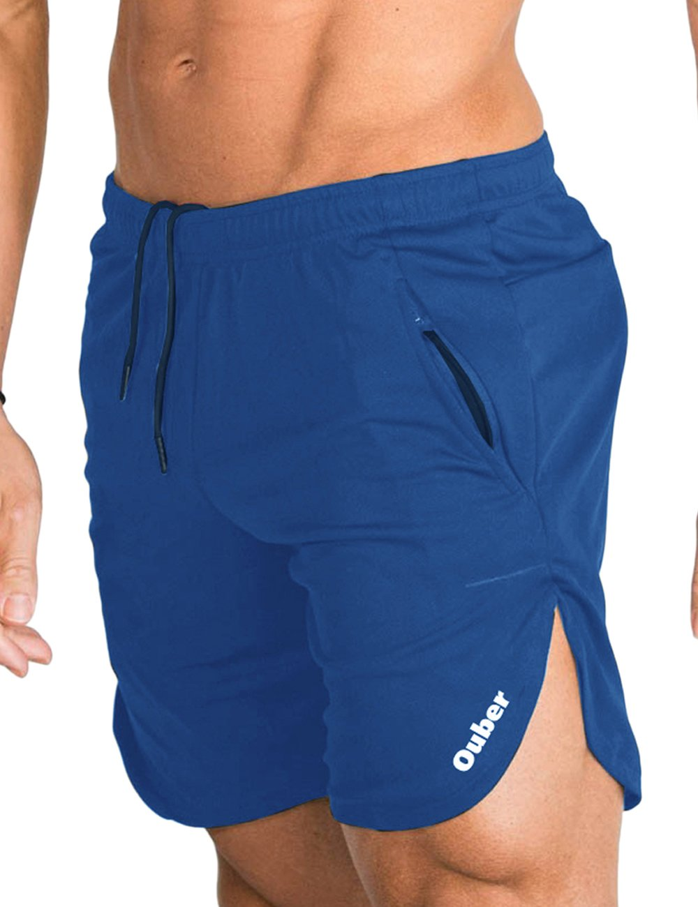 Ouber Men's Cotton Workout Shorts Gym Running Bodybuilding with Zipper Pockets (Blue,M)