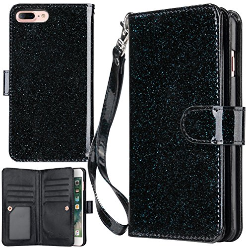 iPhone 7 Plus Case, iPhone 8 Plus Wallet Case, UrbanDrama Glitter Shiny Faux Leather Magnetic Closure Credit Card Slot Cash Holder Protective Case for iPhone 7 Plus/iPhone 8 Plus 5.5, Black Blue
