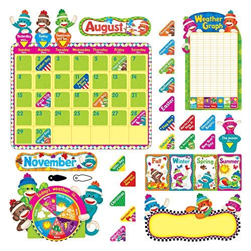 - Trend 17-1/2 x 23-1/4 Inches Sock Monkeys Calendar Bulletin Board Set, 102 Pieces (TEPT8416)