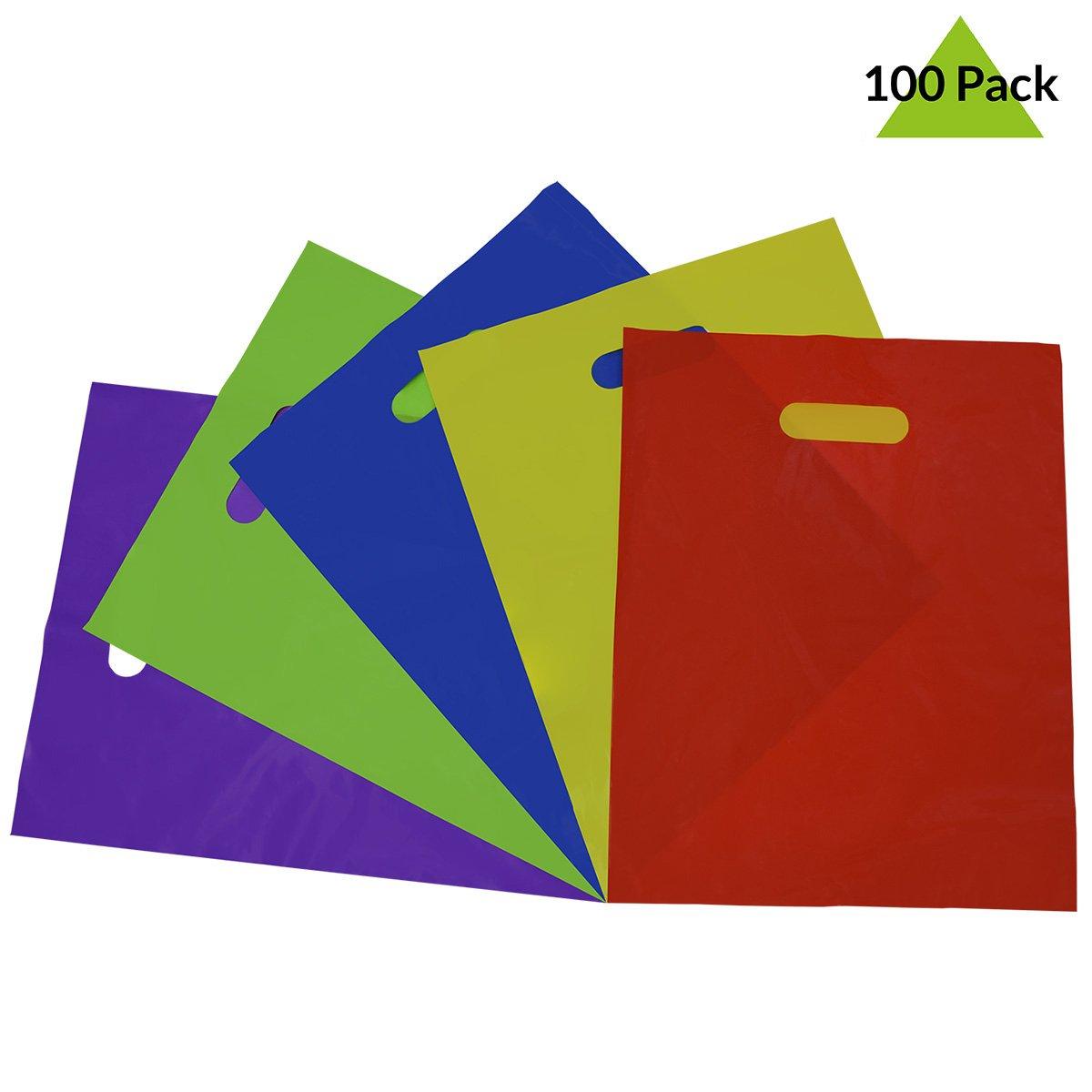 Prime Line Packaging 100 Pcs. 12x15 Thick 2 Mil Multi Color Plastic Merchandise Bags with Die Cut Handles, Plastic Shopping Bags, Party Favor Bags, Gift Bags Bulk