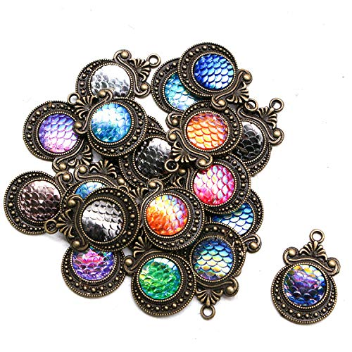 JETEHO 20pcs Antiqued Bronze Mermaid Scale Charm Pendant for Jewelry Making ()