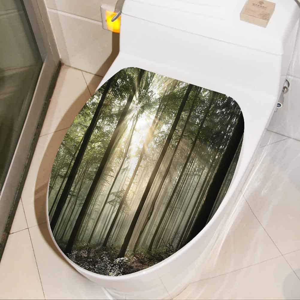 Toilet Seat Lid Cover Decals Stickers Forest Twiggy Branches in Jungle Modern Bathroom Toilet Wall Art Decal Vinyl Toilet Lid Decal Decor 8 x 11 Inch