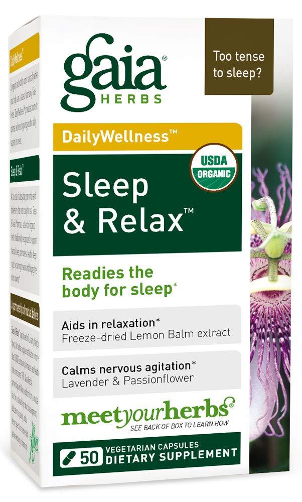 Gaia Herbs Sleep & Relax, Vegan Capsules, 50 Count - Organic Non-Habit Forming Herbal Sleep Aid, Valerian Root, Lavender, Lemon Balm