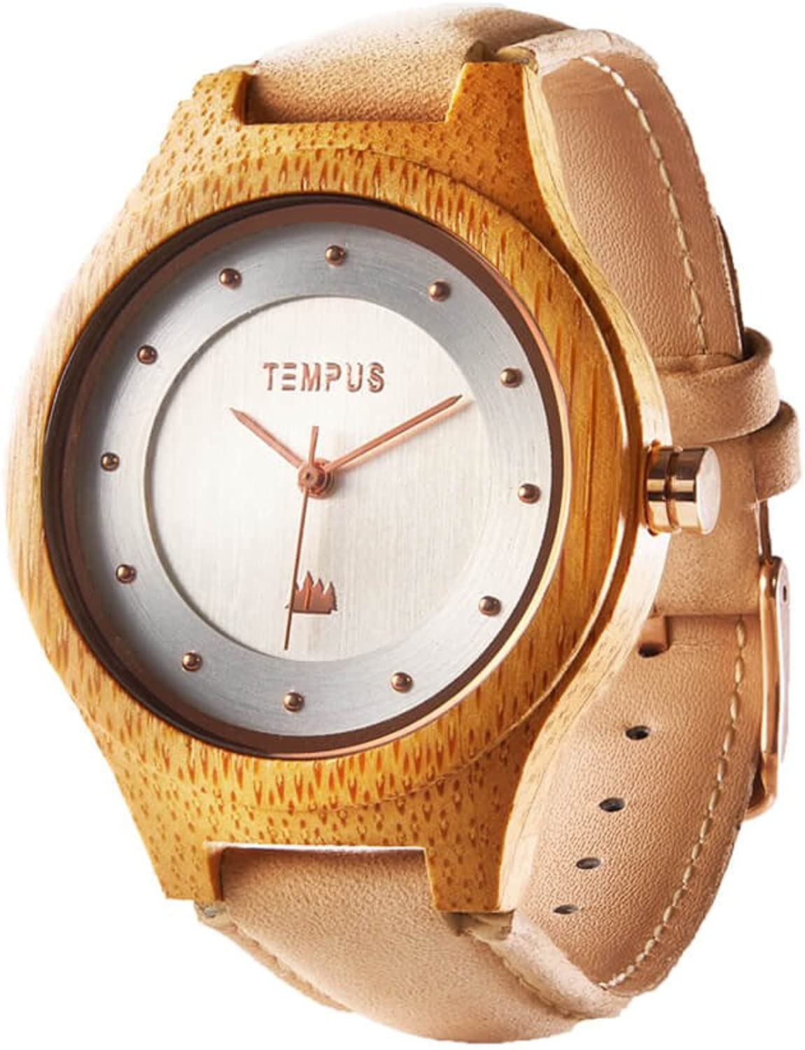 TEMPUS – Callista – Women Wood Watch Bamboo Case Wooden Lady Pink Leather Strap Wristwatch – TWW05