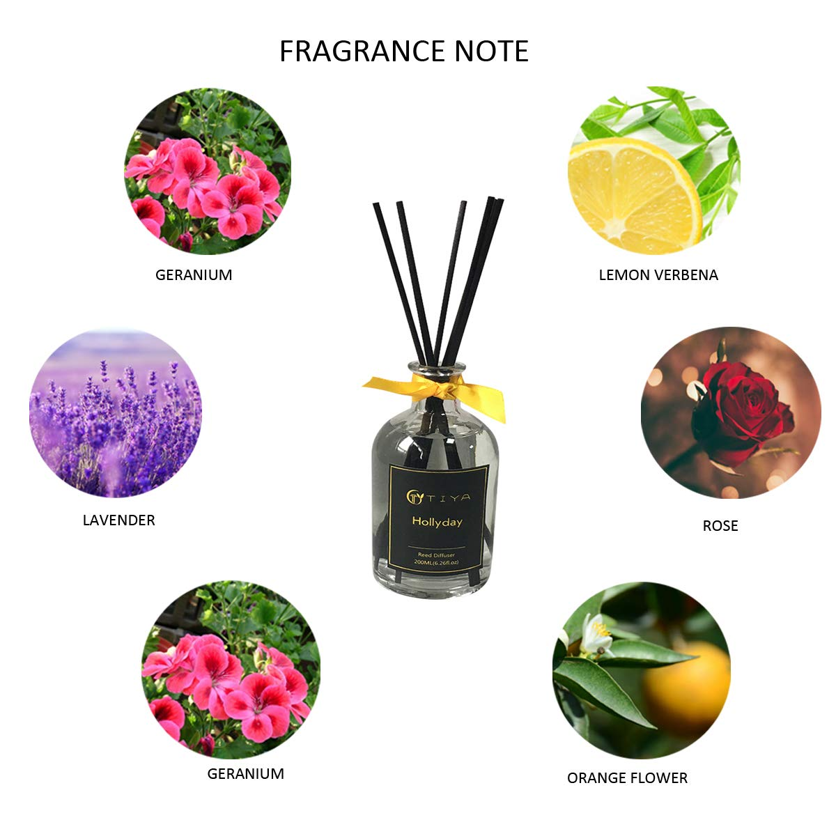 AROMATICSTORE Lavender and Lemongrass Reed Diffuser, 200 ML Essential Oil Aromatherapy Fragrance with Reed Sticks by AROMATICSTORE (Image #3)