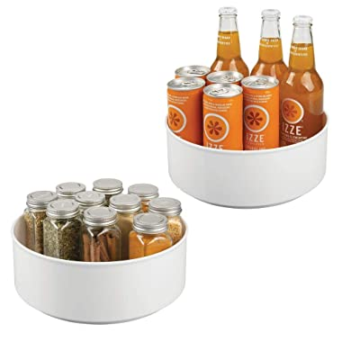 mDesign Plastic Round Lazy Susan Rotating Turntable Food Storage Container for Cabinet, Pantry, Refrigerator, Countertop, Spinning Organizer for Spices, Condiments, Baking Supplies, 2 Pack - White