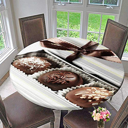 (PINAFORE HOME Modern Simple Round Tablecloth Truffle Sweet Decoration Washable 67
