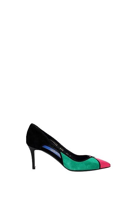 Salvatore Ferragamo decolletes decoltè scarpe donna con tacco camoscio  fiaba ner  Amazon.it  Scarpe e borse b1554ad4668