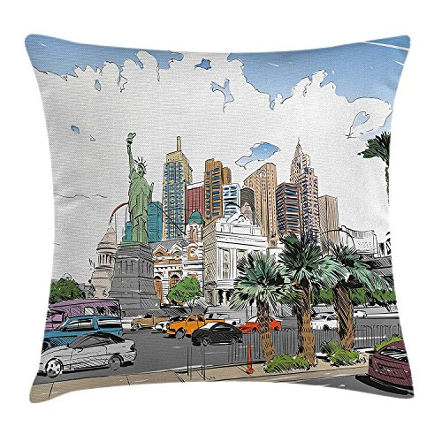 Riolaops USA Throw Pillow Cushion Cover, Hand Drawn Las Vegas City Nevada Street Sketch Buildings Statue of Liberty Cars Palms, Decorative Square Accent Pillow Case, 18 X 18 Inches, Multicolor