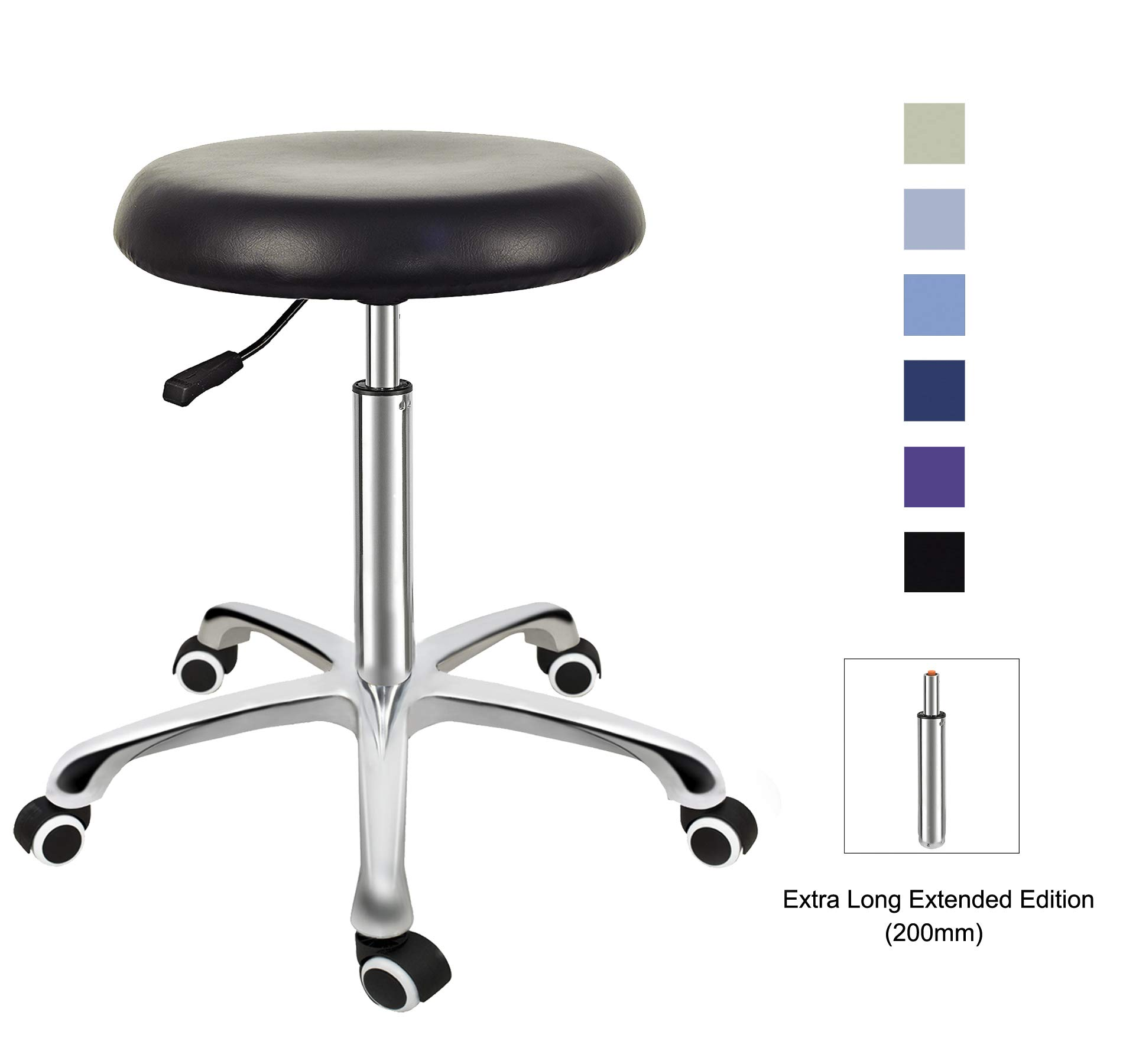 Grace & Grace Professional Task Stool Chair LUX Series Extra Large Seat Rolling Swivel Pneumatic Adjustable Heavy Duty for Dentist, Shop, Office and Home (Without Backrest Steel Base, Black) by Grace & Grace
