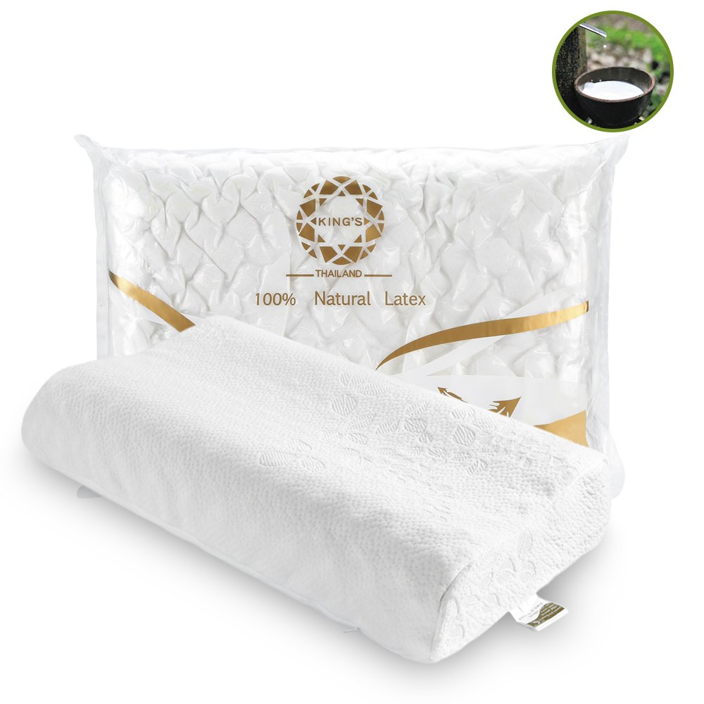 KING'S Latex Pillow Pure Natural Thailand Latex High and Low Massage Pillow with Cervical Spine Help Support Good Sleep Guaranteed/Suitable for Both Men and Women by KING'S