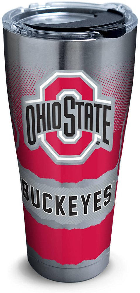 Tervis 1266053 Ohio State Buckeyes Knockout Stainless Steel Tumbler with Clear and Black Hammer Lid 30oz, Silver by Tervis