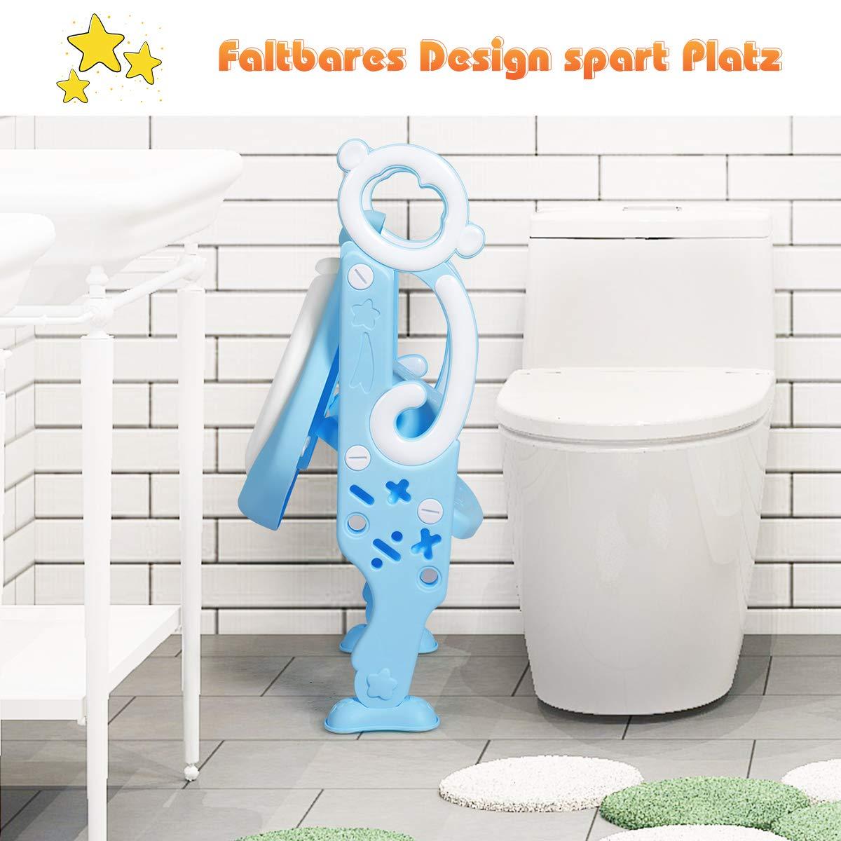 AYNEFY Kinder Toilettensitz Toilettenstuhl Toilettentrainer mit H/öhenverstellbar Treppe Faltbar T/öpfchen mit PU Kissen und Griffen Blau