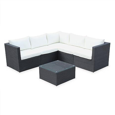 Alices Garden - Conjunto de Jardin, Conjunto Sofa de Exterior, Negro Crudo, 5 plazas, Dimensiones y Cojines Confortable - Siena