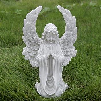 Figura Decorativa para jardín Ángel De La Bendición De Resina Impermeable Estatua Del Jardín Del Césped Del Paisaje Para La Yarda Artesanía Decoración De Regalos - 18 * 13 * 30cm A: