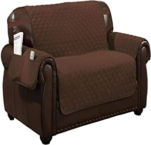 Quick Fit - The Original Quilted Reversible Water Resistant Furniture Cover for Dogs, Kids, Pets Sofa Slipcover for Couch, Recliner, Loveseat or Chair (Loveseat: Brown & Beige)