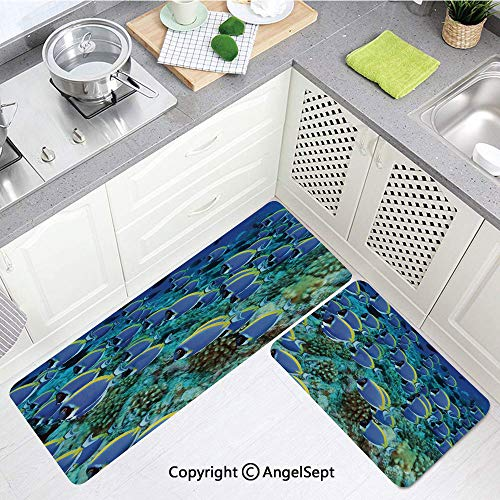 - Custom Anti-Fatigue Kitchen Mat,School of Powder Blue Tang Fishes in The Coral Reef Maldives Deep Seas Aqua Blue and Yellow,Super Fashionable Floor Mats,(15.7