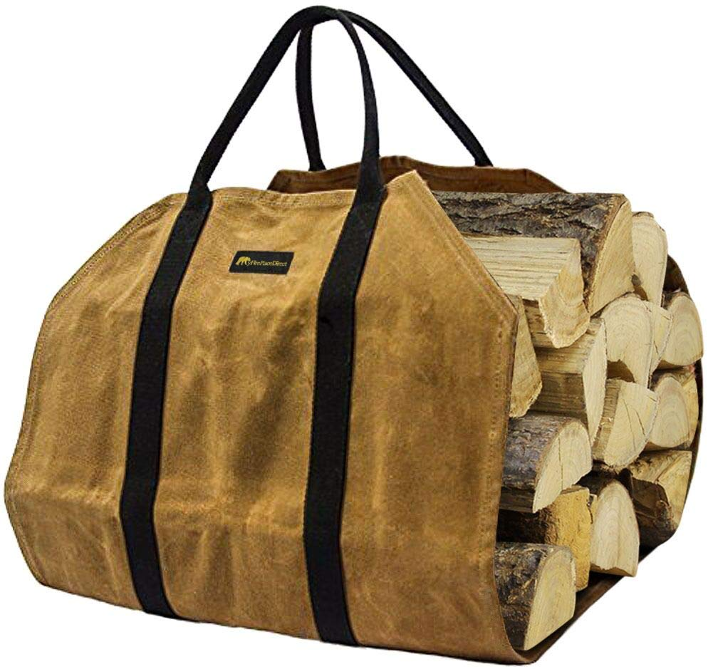 MyFirePlaceDirect Sturdy Waxed Canvas Firewood Log Carrier, Durable Firepalce Wood Bag with Reinforce Cotton Straps by MyFirePlaceDirect