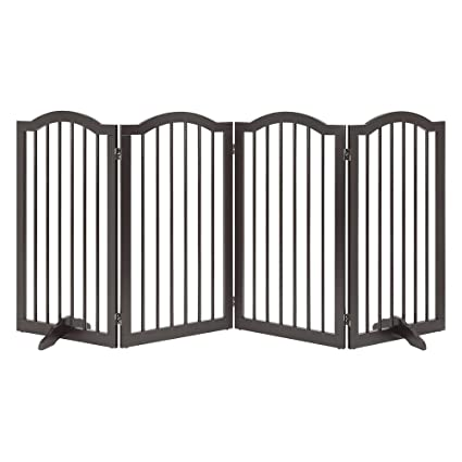 unipaws Freestanding Pet Gate, Puerta para Perros Plegable para Escaleras (51cm W x 91cm H, 4 Panels, Espresso): Amazon.es: Productos para mascotas