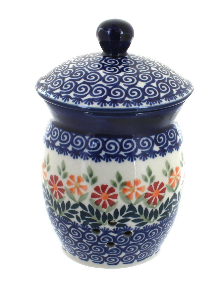 Blue Rose Polish Pottery Garden Bouquet Garlic Keeper by Blue Rose Pottery