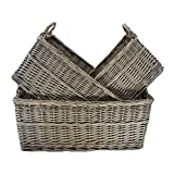 Shallow Antique Wash Storage Wicker Basket Set of 3