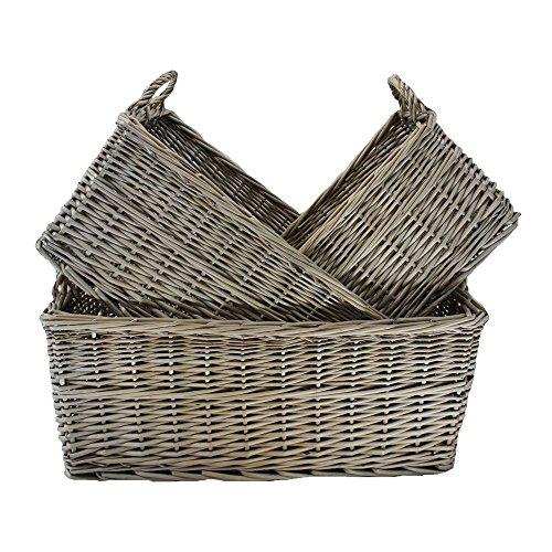 Shallow Antique Wash Storage Wicker Basket Set of 3 by Red Hamper