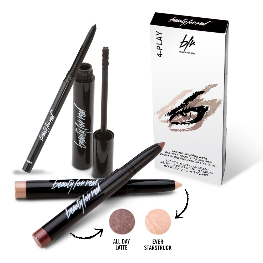 Beauty For Real 4-Play Eye Quartet - 4 Piece Set 2x Eyeshadow, Eyeliner, Mascara, (ADL+ES)