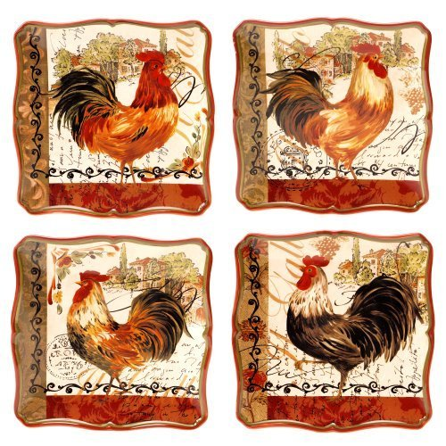 (Certified International Tuscan Rooster Salad/Dessert Plate, 8.5-Inch, Assorted Designs, Set of 4 by Certified International)
