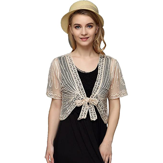 b41106f37f1 JJT Womens Open Front Loose Shrug Casual Lightweight Short Lace Jacquard  Bolero Shrug Floral Crochet Women - Off-White - Small  Amazon.co.uk   Clothing