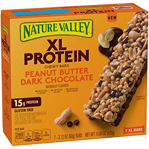 Nature Valley Chewy Granola Bar, XL Protein, Gluten Free, Peanut Butter Dark Chocolate, 7 Bars, 2.12 oz (Pack of 6) (Best Protein Granola Bars)