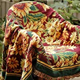 Rural Floral Knitted Sofa Slipcover Furniture Protector Home Decor - with Fringe Cotton by HugeHug(Gerbera,90x98 inch)