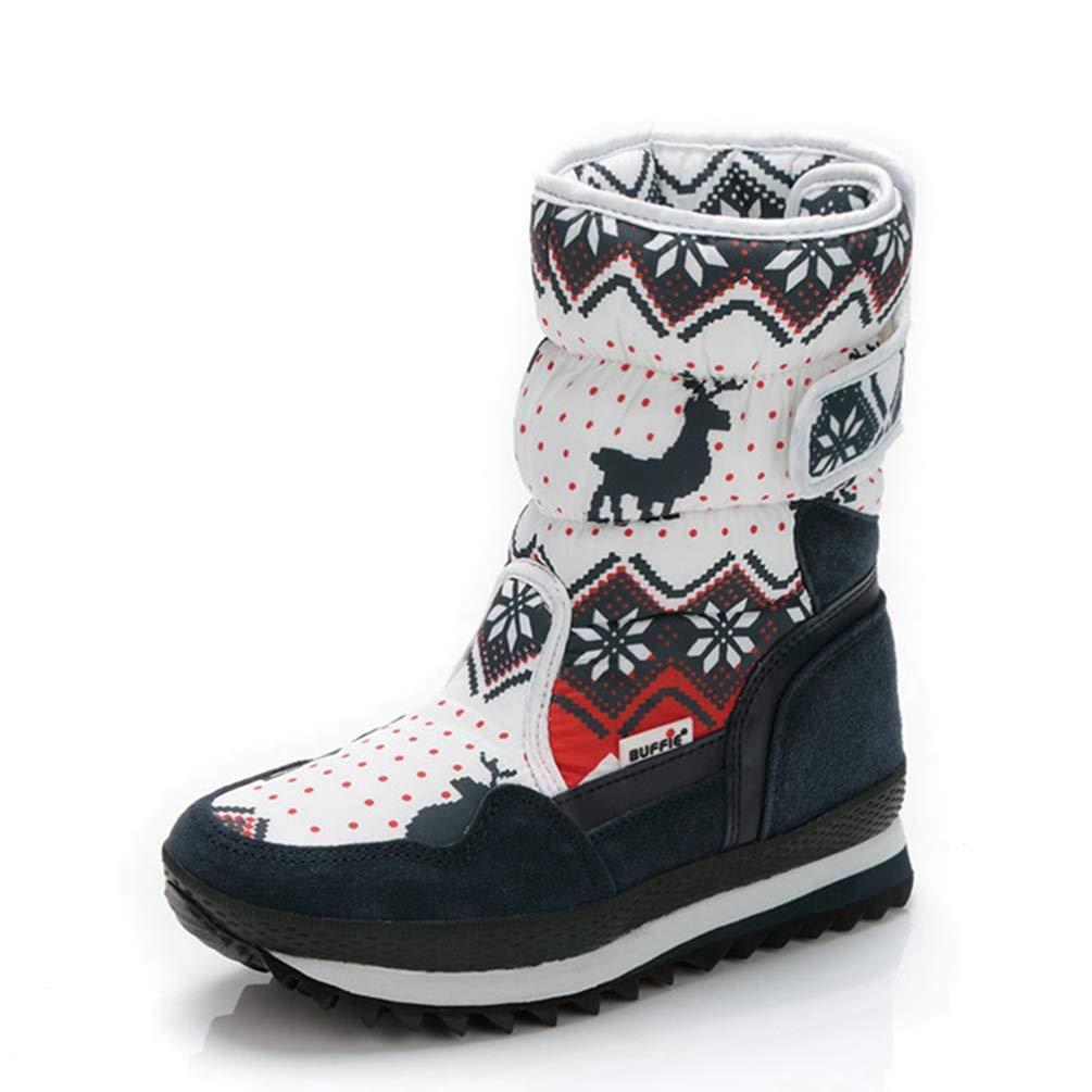 ZHRUI Frauen Winter Warme Stiefel Rutschfeste Laufsohle Lady Christmas Deer Mode-Stil Easy Wear Schnalle Stiefel (Farbe   Navy Größe   5=38 EU)