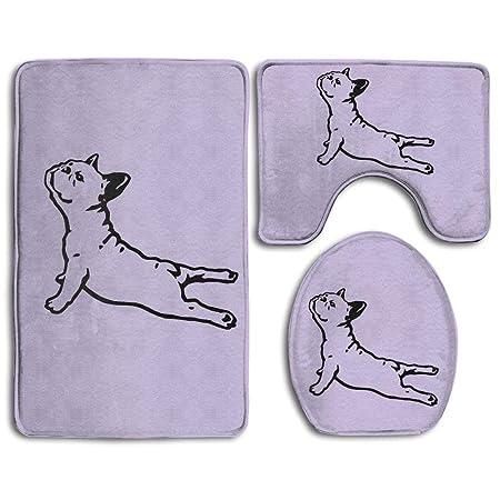 Baby Bath Mat, 3 Piece Bathroom Rug Set French Bulldog Yoga ...
