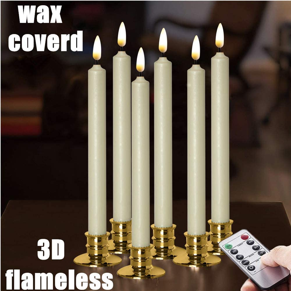 "NONNO&ZGF Flameless Ivory Taper Window Candles with Removable Golden Candleholders with Remote and Timer, 10"" Flickering Battery Operated Wax-Dipped LED Candles Set of 6: Home Improvement"