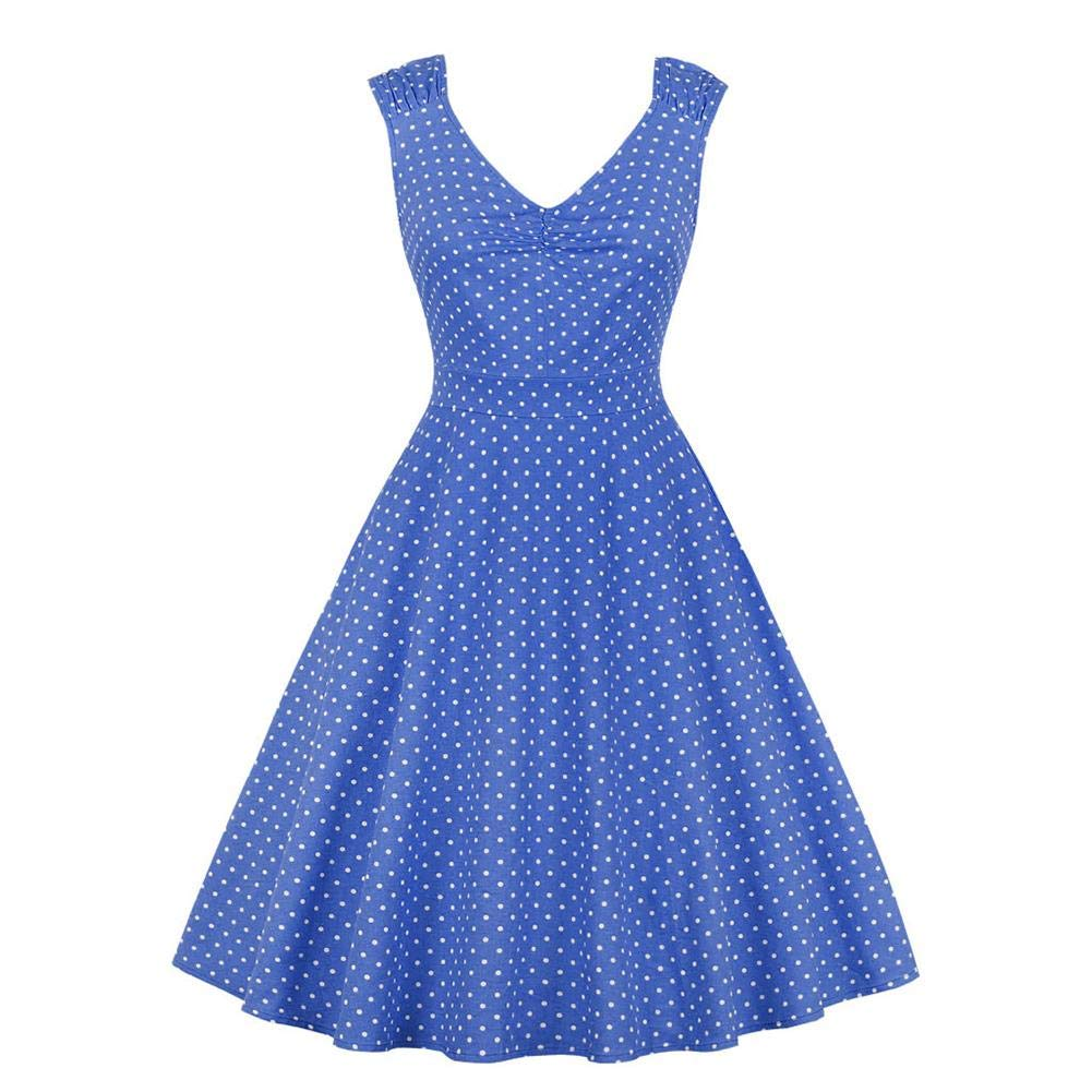 Filfeel Elegant Women's Vintage Slim Dress Print Wave Point V-Neck Sleeveless Tutu