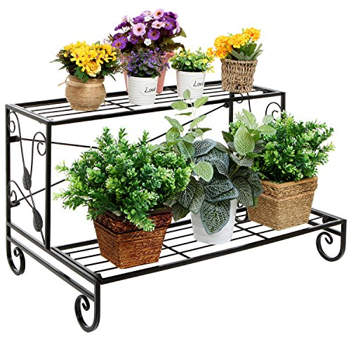 Decorative Scrollwork & Leaf Design 2 Tier Black Metal Storage Rack Shelf / Freestanding Display Stand -
