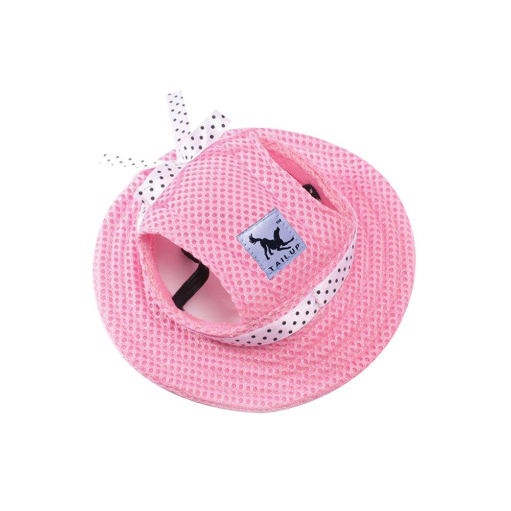 Capeline Chapeau de Princesse en Maille pour Chiot Petit Chien Bonnet Anti Soleil Réglable Housewarming
