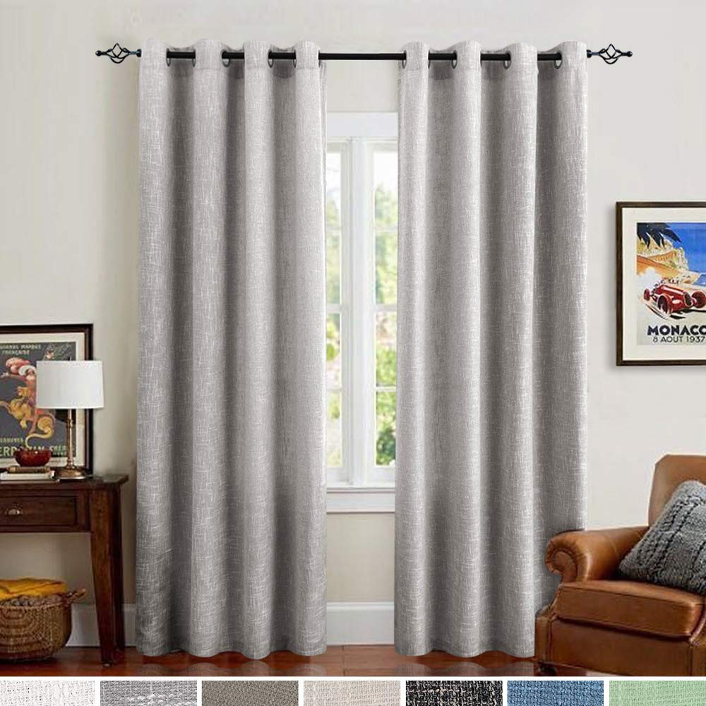 jinchan Linen Cotton Curtains Grommets Top for Living Room Window Treatment  Set of 2 Panels for Bedroom Drapes 52\