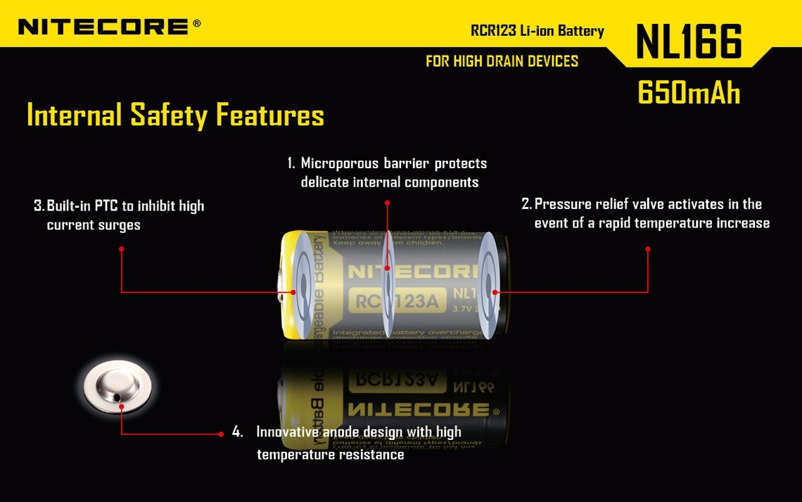 Bundle 8 Pack Nitecore NL166 RCR123A 3.7V 650mA 2.4Wh Protected Li-ion 650mAh 16340 Rechargeable Batteries with EdisonBright USB powered LED reading light by EdisonBright (Image #4)