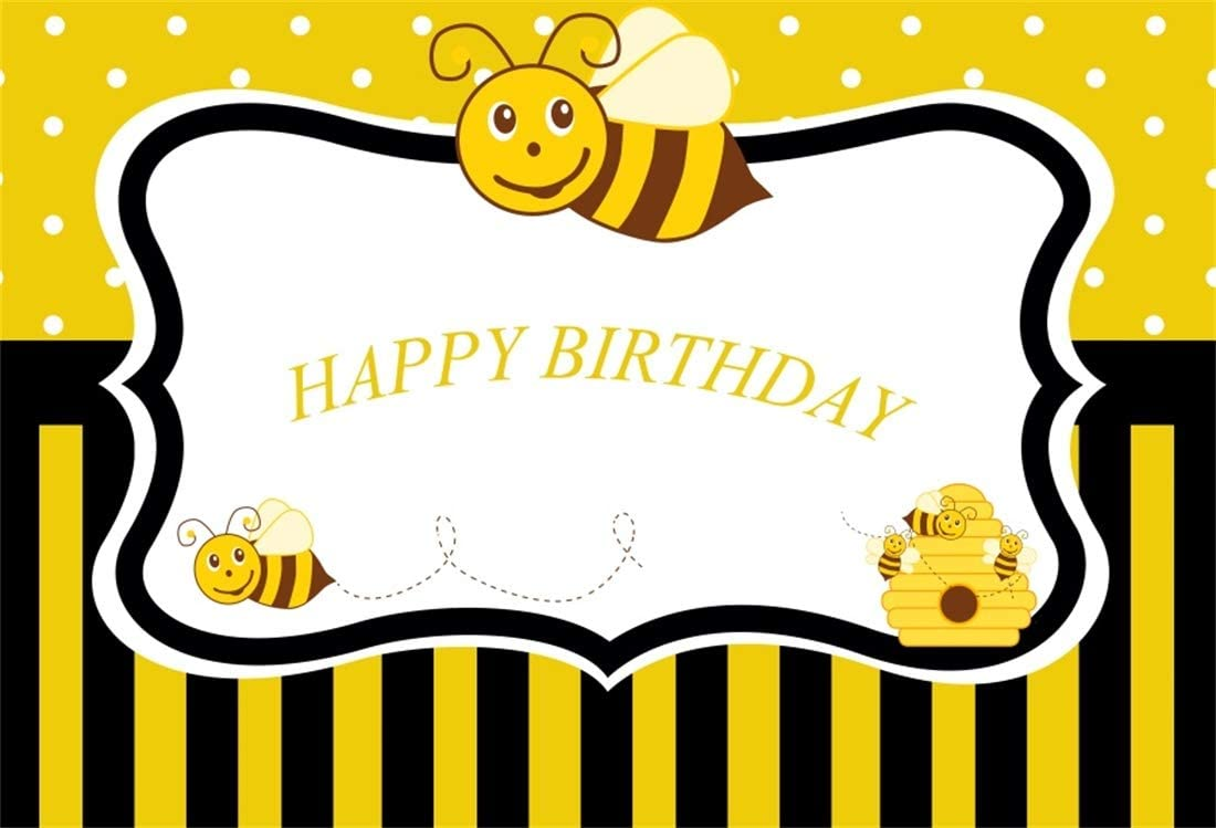 Yeele 10x8ft Happy Birthday Photography Background Cartoon Yellow Little Bee Hive Stripe Birthday Party Decoration Banner Kids Boy Girl Photo Backdrop Booth Shoot Vinyl Studio Props