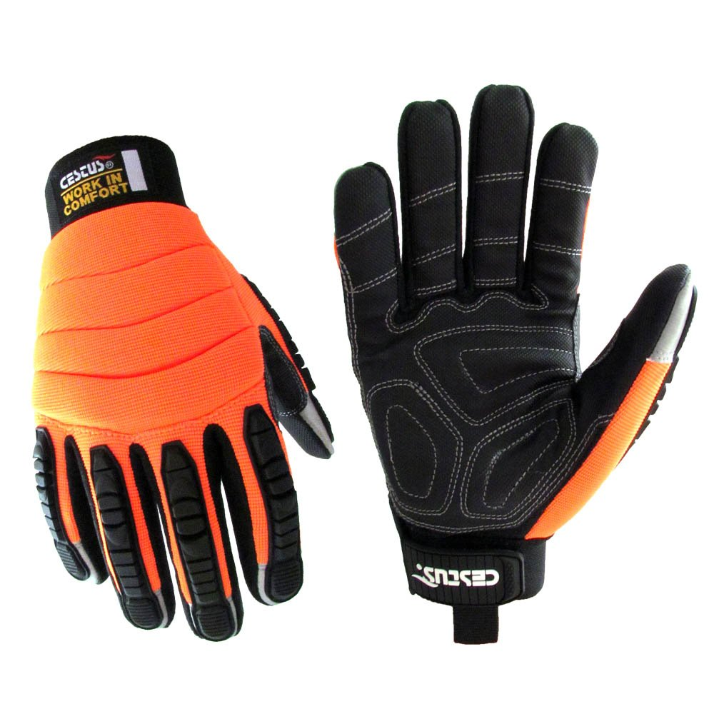 Cestus Pro Series HM Impact Glove, Work, Cut Resistant, Large, Orange (Pack of 1 Pair)