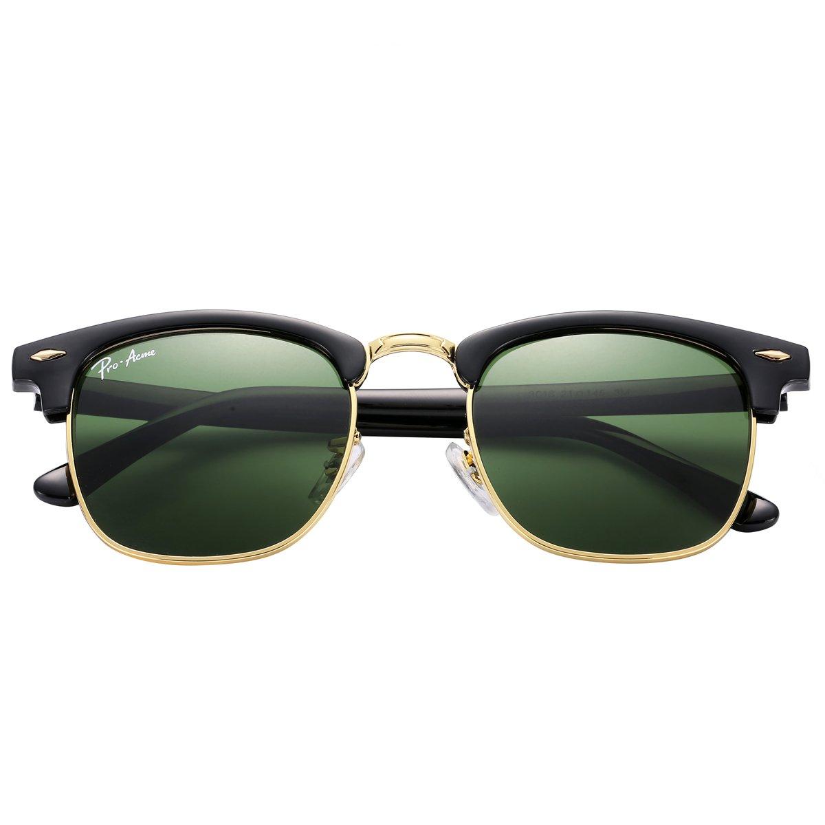 Pro Acme PA3016 Klassisch Kristalllinse Clubmaster Sonnenbrille (Black Frame/G15 Lens) bOzqFZ