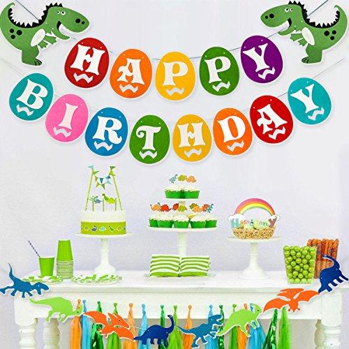 Dinosaur Happy Birthday Banner, Colorful Felt Garland Flag for Dino Jungle Jurassic First Birthday Dinosaur Party Supplies Decorations by Haptda (Image #3)